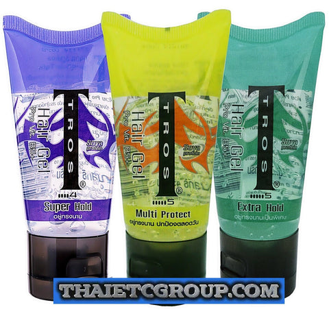 3X45g TROS HAIR STYLING GEL UV PROTECT SUPER EXTRA HOLD SOYA PROTEIN VITAMIN B5
