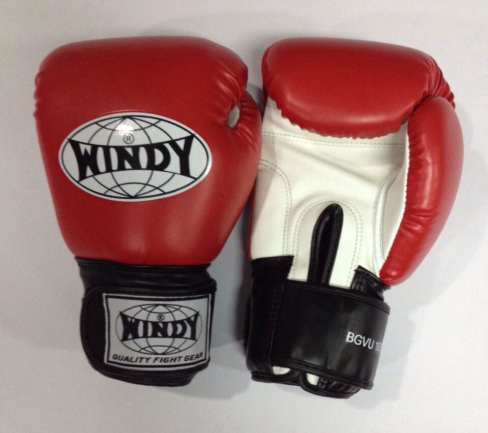 WINDY MUAY THAI GLOVES KICK BOXING MMA K1 BOXING SPARING FIGHTING 10 OZ -  RED