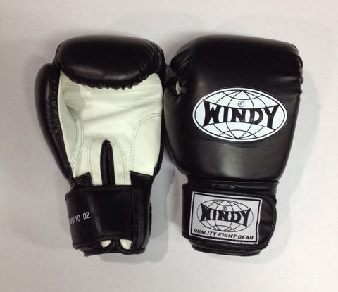 WINDY MUAY THAI GLOVES KICK BOXING MMA K1 BOXING SPARING FIGHTING 10 OZ - BLACK