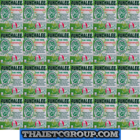 24 Boxes PUNCHALEE THAI 100% Herbal Toothpaste Anti Bacteria Bad Breath Decay