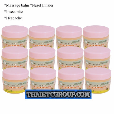 12 Pathom Asoke Nasal Inhaler Massage Balm Cream Headache Muscle pain ache