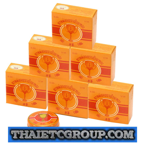 6 x 8g Golden Cup Balm muscular pain headache aches relief natural Thailand Thai