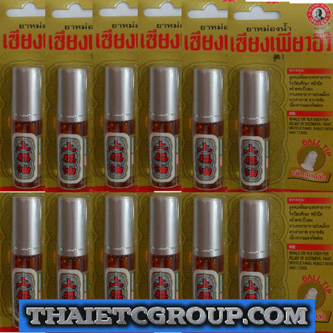 12 SIANG PURE OIL RED PEPPERMINT MENTHOL ROLL ON Relief dizziness Relief Formula