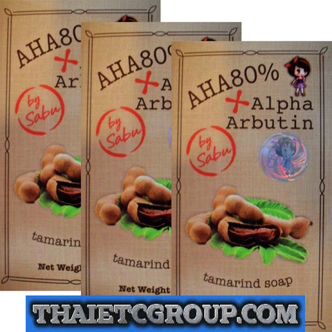 3 AHA 80% ALPHA ARBUTIN Tamarind Soap Whitening Face Body Lightening by SABU