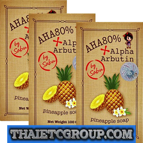 3 AHA 80% ALPHA ARBUTIN Pineapple Soap Whitening Face Body Lightening by SABU