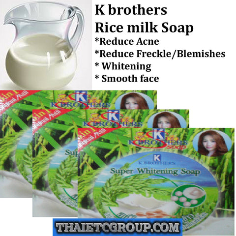 3 K Brothers Bath & Body Jasmine Rice Milk Soap Thailand Super Whitening Natural