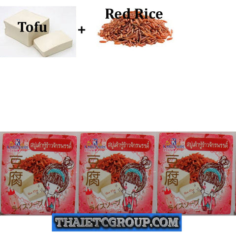 3 K Brothers Bath Body Tofu Red Rice Secret Beauty Soy Bean Whitening Soap