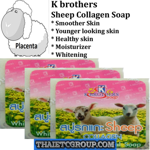 3 K Brother Bath & Body Sheep Collagen Whitening Herbal Soap Reduce Dark Spots