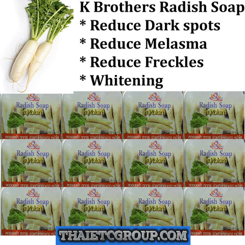12 K Brothers Bath & Body White Radish Soap Whitening Reduce Melasma Dark spots