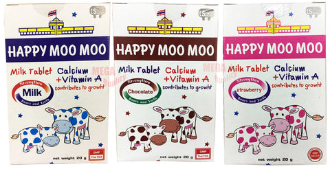 3 X 20G. HAPPY MOO MOO MILK CANDY TABLET WITH CALCIUM + VITAMIN A