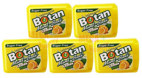 5 x Botan Mint-Ball Lemon Mint Sugar Free Triple Action Breath Freshener 5g.