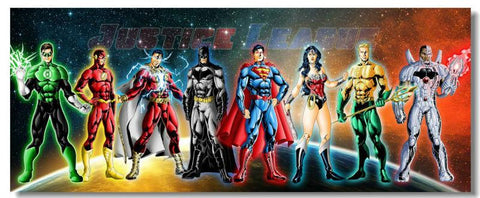 Justice League JL Movie Wall Silk Poster Big Prints Boy Room Superman Batman Flash HawkGirl Wonder (056) - 32x48 inch (80x120cm)