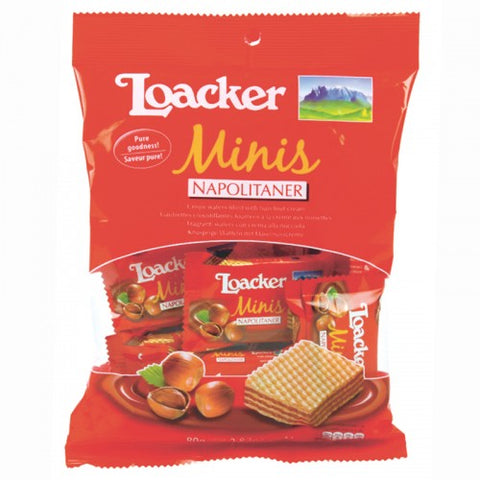 Candy Wafers Filled With Cremnapolitaer Loacker Mini Size 80 G.