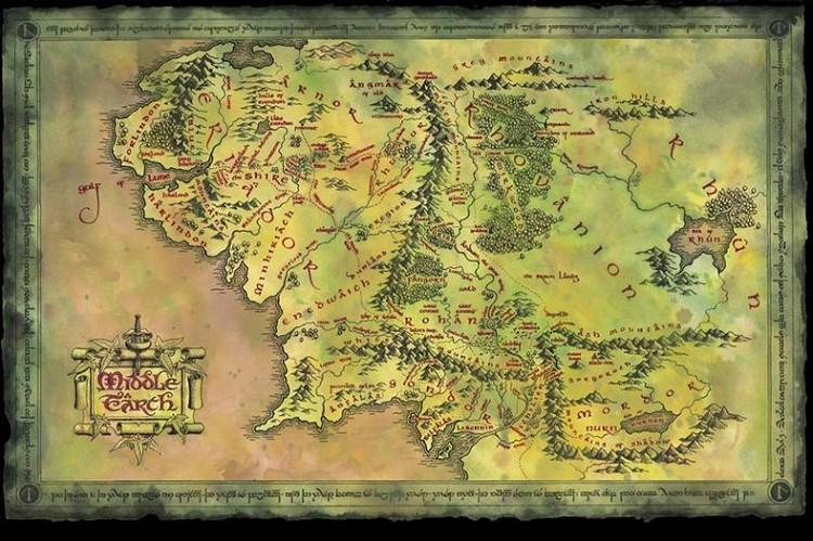 Lord Of The Rings Online World Map.Map Of Middle Earth The Lord Of The Rings Silk Wall Posters Hd Home