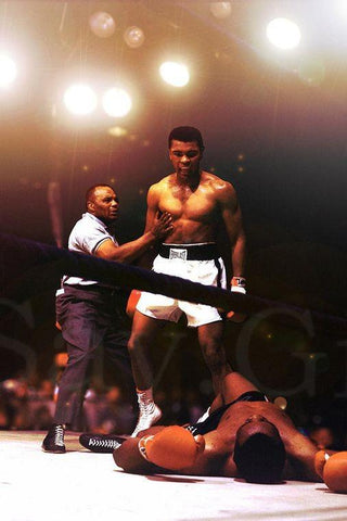 Ali Muhammad Boxer Art Silk Canvas Wall Poster Boxing Legend Printings 01 - 13x20 inch (33x50cm)