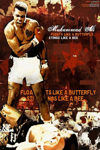 Ali Muhammad Boxer Art Silk Canvas Wall Poster Boxing Legend Printings 16 - 20x30 inch (50x75cm)