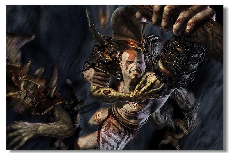 God Of War 1 2 3 GOW Game Silk Wall Poster HD Big Posters and Prints Home  living Room Decoration 30 - 20x30 inch (50x75cm)
