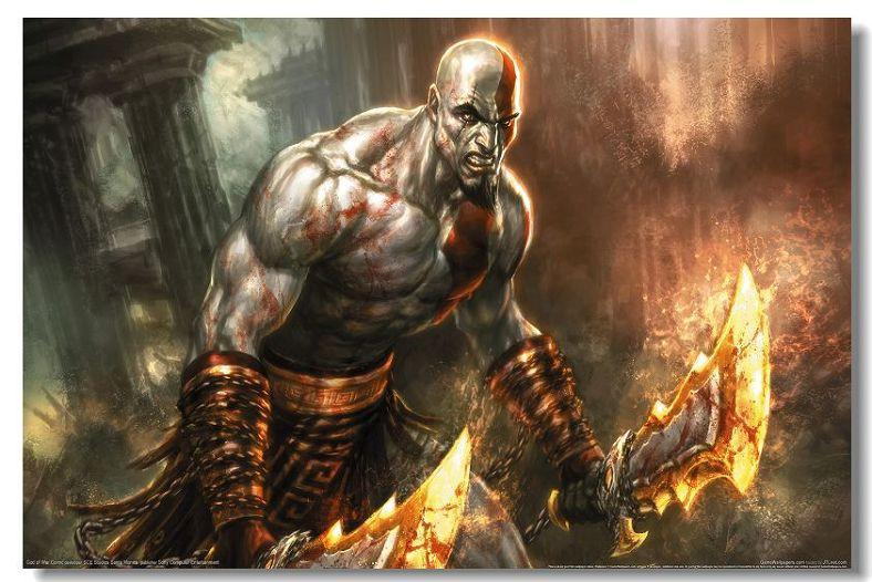 God Of War 1 2 3 GOW Game Silk Wall Poster HD Big Posters and Prints Home  living Room Decoration 17 - 20x30 inch (50x75cm)
