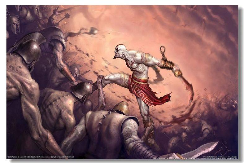 God Of War 1 2 3 GOW Game Silk Wall Poster HD Big Posters and Prints Home  living Room Decoration 12 - 32x48 inch (80x120cm)