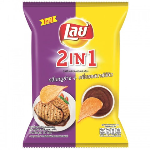 Lays Rock 2 in 1 Potato Chip Grilled Pork and BBQ Sauce Size 73 g.