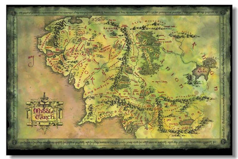 Map Of Middle Earth The Lord Of The Rings Silk Wall Poster Prints Fans Collect (4) - 32x48 inch (80x120cm)
