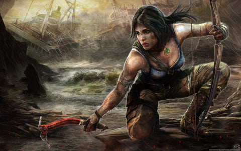 Lara Croft Tomb Raider Artwork Game Silk Wall Art Poster Print - 20x30 inch (50x75cm)