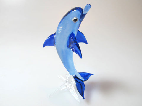 Aquarium MINIATURE HAND BLOWN Art GLASS Blue Junping Dolphin FIGURINE