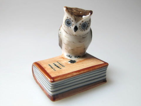 Tiny Miniature Collectible Ceramic Owl on Book Zoo Animal Figurine Bird