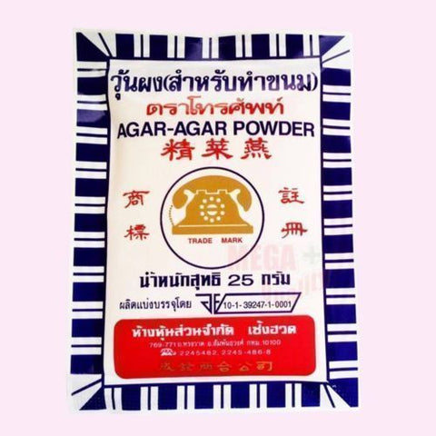 AGAR-AGAR POWDER Telephone Brand Thai International Food for Dessert 25g