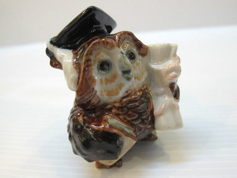 Doll house Miniature Collectible Ceramic Brown Owl Graduation Figurine Bird