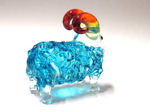 FARM CRAFT MINIATURE HAND BLOWN GLASS Blue Sheep FIGURINE Animals