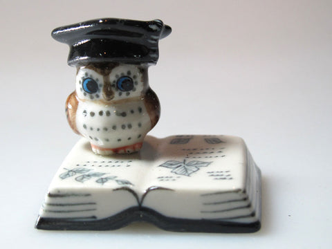 Craft Miniature Collectible Ceramic Brown Owl on Book Zoo Animal Figurine Bird