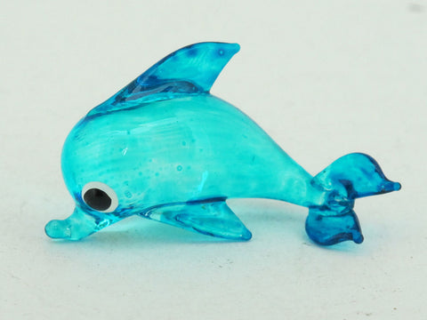 Tiny BLUE Dolphins Aquarium MINIATURE HAND BLOWN GLASS FIGURINE Collection