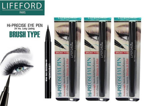 3x LIFEFORD PARIS HI-PRECISE EYE PEN BRUSH TYPE BLACK Eyeliner Long Lasting 24hr