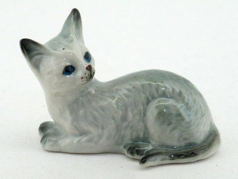 Handmade Miniatures Collectible Ceramic Porcelain Gray Cat FIGURINE