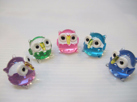 Set of 5 Cute Handmade Craft Miniature Collectible Hand Blown Glass Owls