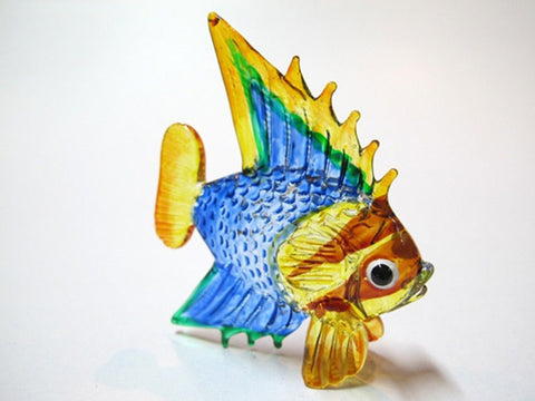 Coastal Style MINIATURE HAND BLOWN Art GLASS Fish FIGURINE Collection # 44