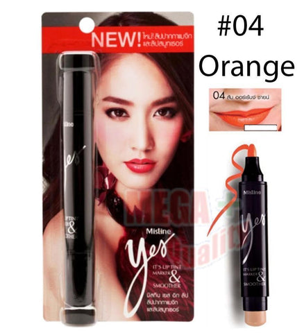 Mistine Yes It s Lipstick Tint 2 in 1 Smoother Long Last Waterproof #04 Orange