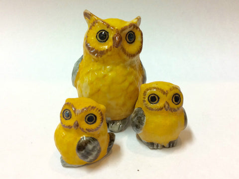 Craft Miniature Collectible Ceramic Yellow Owl Family Figurine
