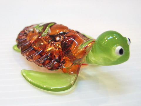 Aquarium MINIATURE HAND BLOWN Art GLASS Brown Turtle FIGURINE Collection