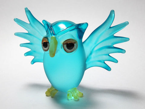 Cute Handmade Craft Miniature Collectible Hand Blown Glass Blue Owl Figurine