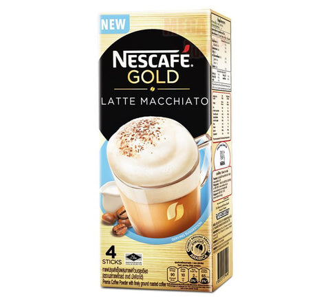 NESCAFE GOLD LATTE MACCHIATO Premix Coffee Finely Ground Roasted Coffee 4 sticks