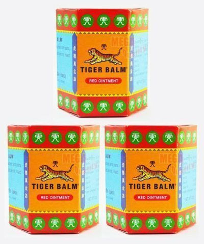 3 x TIGER BALM RED HERBAL RUB MUSCLES PAIN RELIEF HEADACHE 30 g.(BIG JAR)