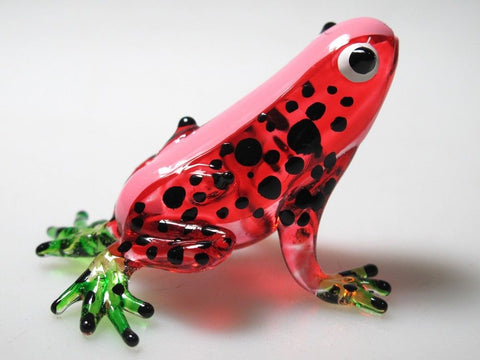 Lampwork COLLECTIBLE MINIATURE HAND BLOWN Art GLASS Red Frog FIGURINE