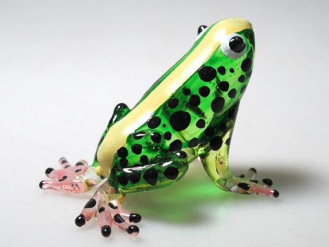 Lampwork COLLECTIBLE MINIATURE HAND BLOWN GLASS Green Frog FIGURINE Zoo Craft