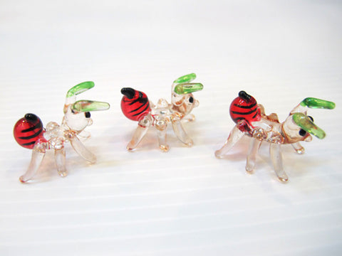 SET OF 3 ANTS INSECT HAND CRAFTED MINIATURE HAND BLOWN GLASS FIGURINE