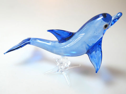 Aquarium MINIATURE HAND BLOWN Art GLASS Blue Dolphin FIGURINE