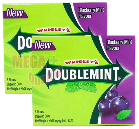 2 x WRIGLEY s Chewing Gum DOUBLEMINT BLUEBERRY MINT Flavour Fresh Clean