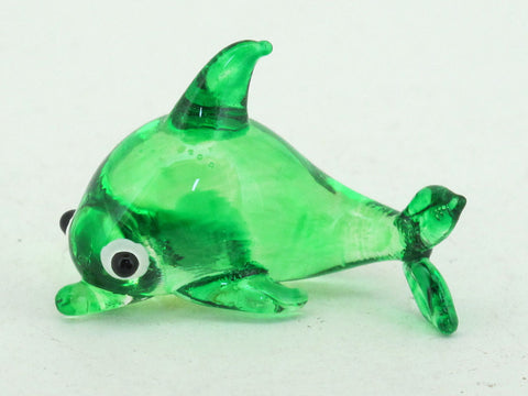 Tiny GREEN Dolphins Aquarium MINIATURE HAND BLOWN GLASS FIGURINE Collection
