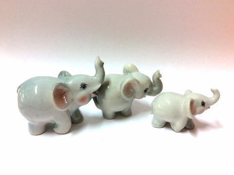 Handicraft Miniature Collectible Porcelain Ceramic 3 Cartoon ELEPHANT Figurine